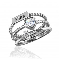 Sterling Silver Rhodium Plated Triple Band Faith Heart Cross Ring with CZ - STR01059