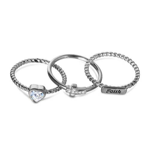 Wholesale Sterling Silver 925 Rhodium Plated Triple Band Faith Heart Cross Ring with CZ - STR01059