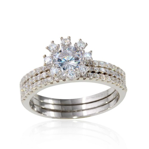Wholesale Sterling Silver 925 Rhodium Plated Micro Pave Bridal CZ Two Piece Adjustable Set - STR01066