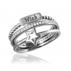 Wholesale Sterling Silver 925 Rhodium Plated Triple Band Wish Star Wedding Ring with CZ - STR01061