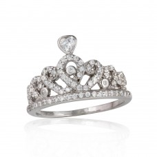 Sterling Silver Rhodium Plated CZ Tiara Ring - STR01073