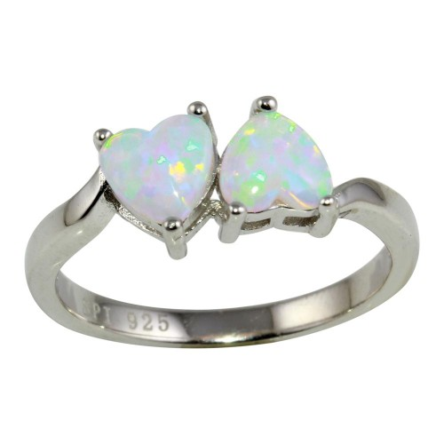 Wholesale Sterling Silver 925 Rhodium Plated Two Heart Ring with AB Crystal CZ - STR01074