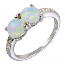 Wholesale Sterling Silver 925 Rhodium Plated Twin Opal Ring with CZ - STR01075