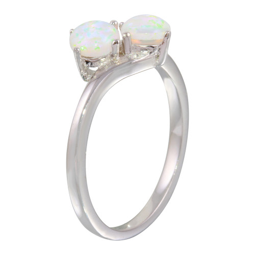 Wholesale Sterling Silver 925 Rhodium Plated Twin CZ Opal Ring - STR01076