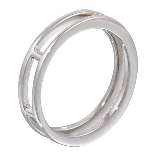 Wholesale Sterling Silver 925 Rhodium Plated Two Row Ring with CZ - STR01077
