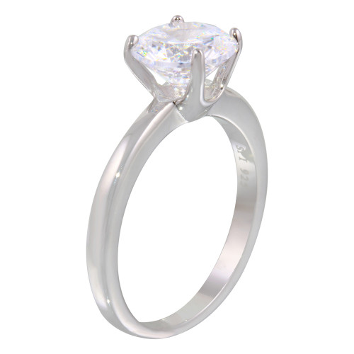 Wholesale Sterling Silver 925 Rhodium Plated Round Solitaire CZ Ring - STR01078