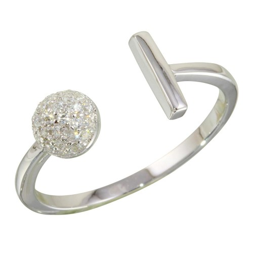 Wholesale Sterling Silver 925 Rhodium Plated Open Bar and Half Circle Ring with CZ - STR01079