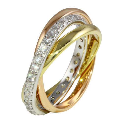 Wholesale Sterling Silver 925 Tri Color Ring Set with CZ - STR01080