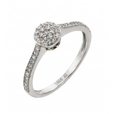 Wholesale Sterling Silver 925 Rhodium Plated Round Clear CZ Graduated Double Ring - STR00918