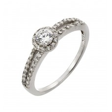Sterling Silver Rhodium Plated Round Clear CZ Ring - STR00920