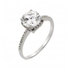 Sterling Silver Rhodium Plated Round Clear CZ Ring - STR00921