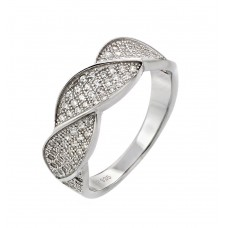 Sterling Silver Rhodium Plated Round Clear CZ Twisted Ring - STR00922