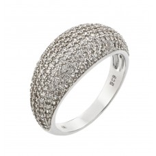 Sterling Silver Rhodium Plated Pave Clear CZ Dome Ring - STR00923
