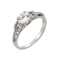 Sterling Silver Rhodium Plated Round Clear CZ Ring - STR00924