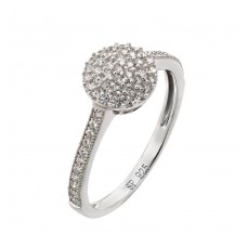 Sterling Silver Rhodium Plated Round Clear CZ Ring - STR00925