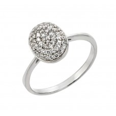 Sterling Silver Rhodium Plated Round Oval CZ Ring - STR00926