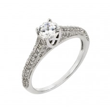 Sterling Silver Rhodium Plated Solitaire Micro Pave CZ Ring - STR00927