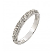 Wholesale Sterling Silver 925 Rhodium Plated Round Clear CZ Ring - STR00929