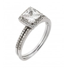 Sterling Silver Rhodium Plated Band Square CZ Ring - STR00931