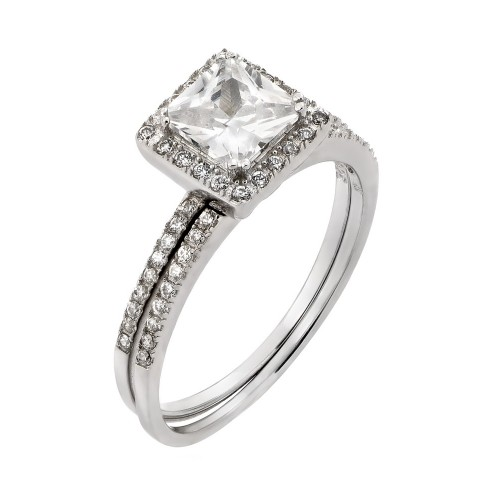 Wholesale Sterling Silver 925 Rhodium Plated Band Square CZ Ring - STR00931