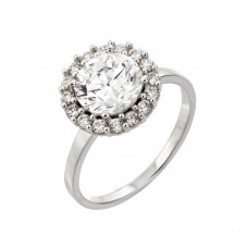 Wholesale Sterling Silver 925 Rhodium Plated Round Inlay CZ Ring - STR00932