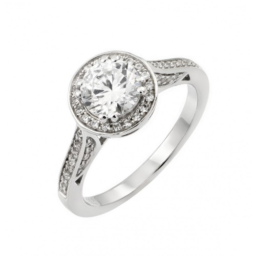 Wholesale Sterling Silver 925 Rhodium Plated Micro Pave Clear Round CZ Wedding Ring - STR00934