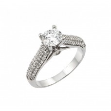 Wholesale Sterling Silver 925 Rhodium Plated Wedding Round Circle CZ Micro Pave Ring - STR00935