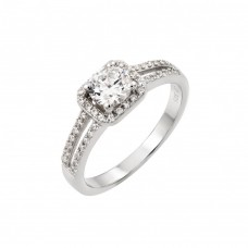 Sterling Silver Rhodium Plated Micro Pave CZ Ring - STR00936