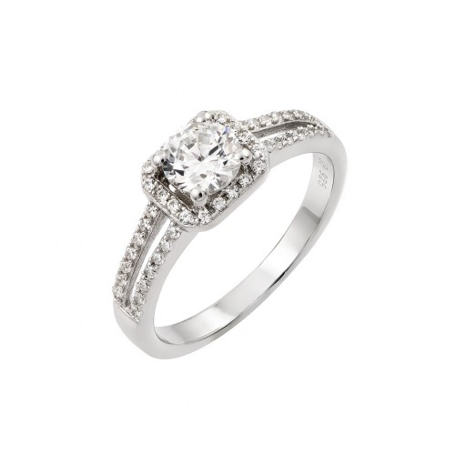 Wholesale Sterling Silver 925 Rhodium Plated Micro Pave CZ Ring - STR00936