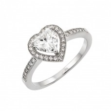 Sterling Silver Rhodium Plated Heart Clear CZ Ring - STR00937