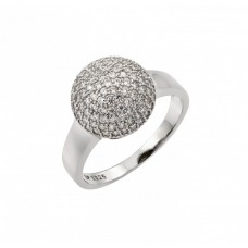 Sterling Silver Rhodium Plated Round Ball Clear CZ Ring - STR00939