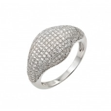 Wholesale Sterling Silver 925 Rhodium Plated Graduated Micro Pave Clear CZ Ring - STR00941