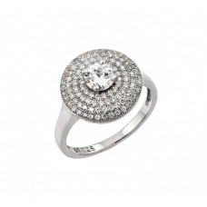 Sterling Silver Rhodium Plated Circle Center Micro Pave CZ Ring - STR00942