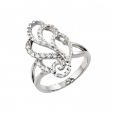Wholesale Sterling Silver 925 Rhodium Plated Filigree Round Clear CZ Ring - STR00943