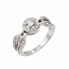 Wholesale Sterling Silver 925 Rhodium Plated Looped Band Pave Small Center CZ Ring - STR00944