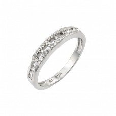 Sterling Silver Rhodium Plated Thin Band Inlay CZ Ring - STR00945