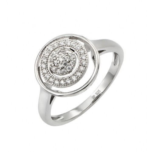 Sterling Silver Rhodium Plated Three Graduated Circle Clear CZ inlay Ring - STR00946