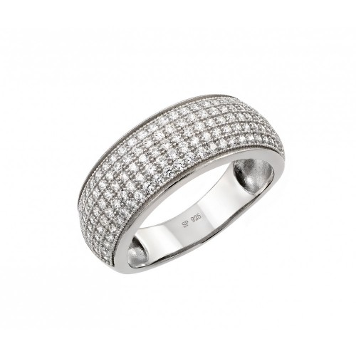 Wholesale Sterling Silver 925 Rhodium Plated Micro Pave CZ Ring - STR00947