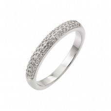 Sterling Silver Rhodium Plated Micro Pave CZ Ring - STR00948
