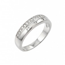 Wholesale Sterling Silver 925 Rhodium Plated Clear CZ Inlay Ring - STR00949