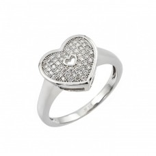 Sterling Silver Rhodium Plated Micro Pave Heart CZ Ring - STR00950
