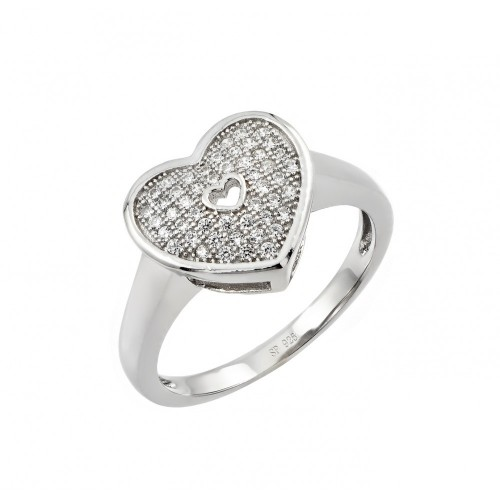 Wholesale Sterling Silver 925 Rhodium Plated Micro Pave Heart CZ Ring - STR00950