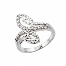 Wholesale Sterling Silver 925 Rhodium Plated Clear CZ Filigree Ring - STR00951