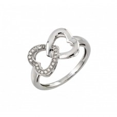 Sterling Silver Rhodium Plated Clear Inlay CZ Intertwined Heart Ring - STR00952