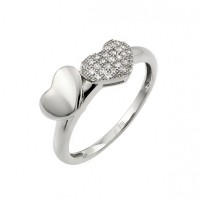 Wholesale Sterling Silver 925 Rhodium Plated Micro Pave Set Clear CZ Heart Ring - STR00953