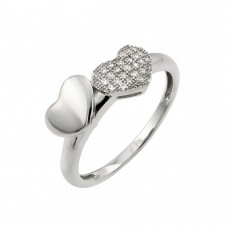 Sterling Silver Rhodium Plated Micro Pave Set Clear CZ Heart Ring - STR00953