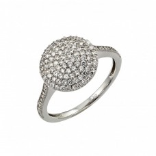 Sterling Silver Rhodium Plated Pave Set Clear CZ Circle Ring - STR00954
