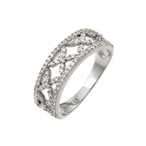 Wholesale Sterling Silver 925 Rhodium Plated Clear Pave Set CZ Open Ring - STR00955