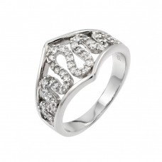 Sterling Silver Rhodium Plated Clear CZ Snake Inlay Ring - STR00957