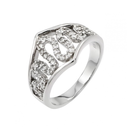 Wholesale Sterling Silver 925 Rhodium Plated Clear CZ Snake Inlay Ring - STR00957